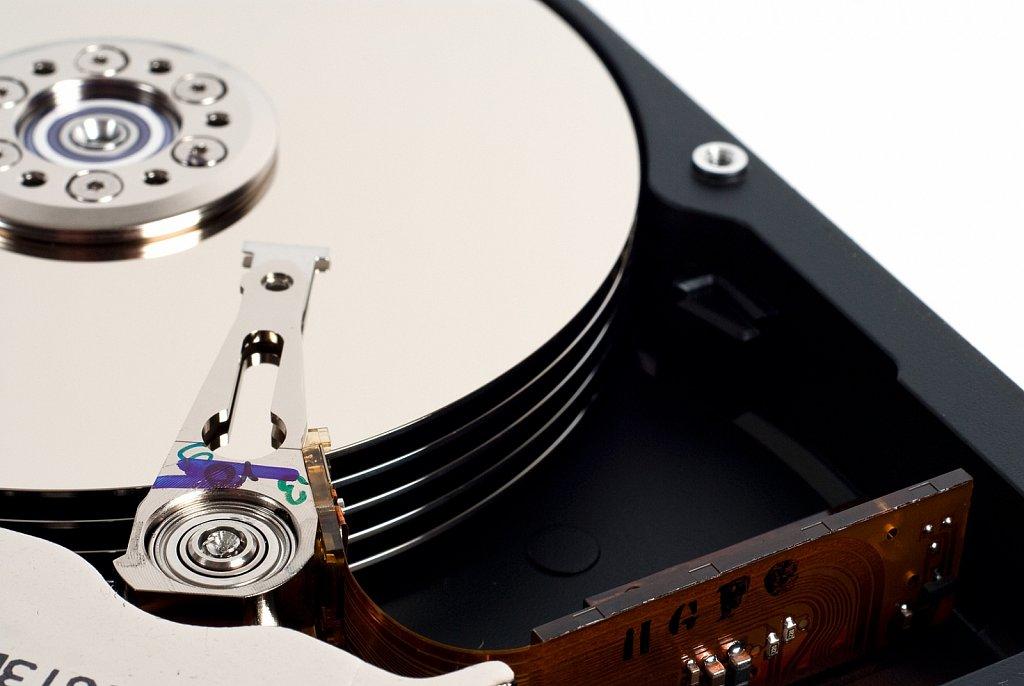 Inside closeup of hard drive